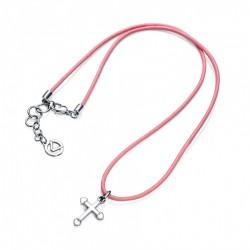 Collar Cruz+cord Rosa...