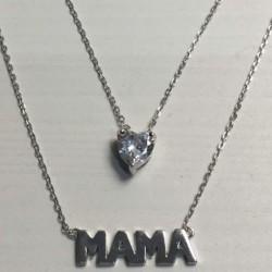 Collar Plata Mama y corazón...