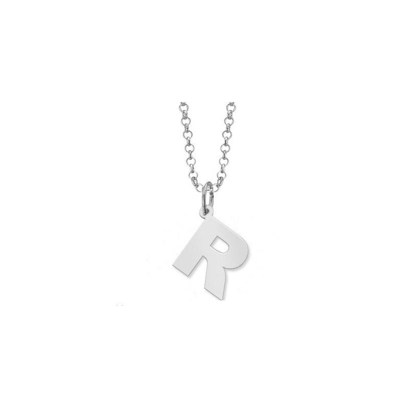 Letra R + Cadena Silver