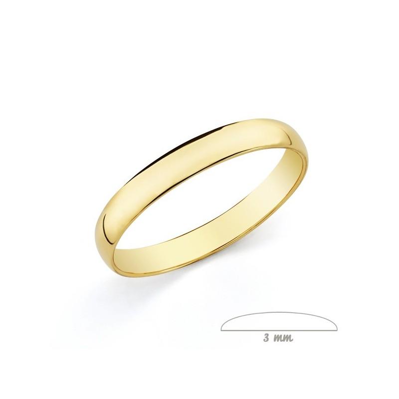 Anillo de boda en oro 9 kilates lisa clasica