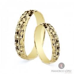 Alianza oro amarillo diamantada
