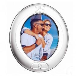 Marco fotos 25 Aniversario oval 20X25 pvd plateado