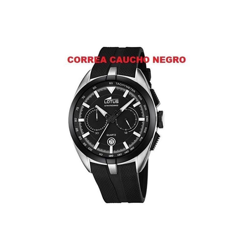 Detalles de Correa Caucho Reloj Lotus 18189 negro